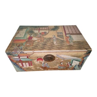 "Antique 1900 ""Courtesans Boating"" Chinese Hand Painted Pigskin Wedding Trunk Chest"