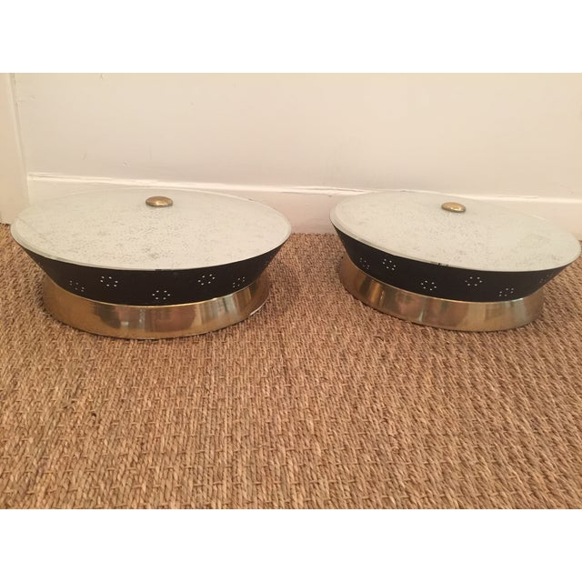 Atomic Mid-Century Modern Flush Mounts - A Pair - Image 8 of 8