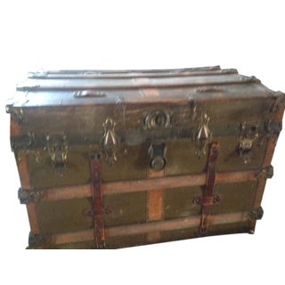 Wooden and Leather Antique Trunk