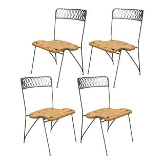 Set of 4 Vintage Maurizio Tempestini Salterini Ribbon MCM Modern Iron Dining Chairs
