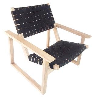 Leon Teak Black Waterproof Nylon Lounge Chair