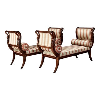 Pair French Empire Style Upholstered Swan Benches