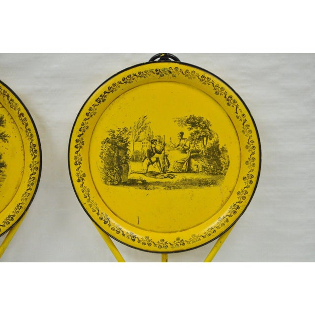 Pair of Vintage Italian Neoclassical Tole Metal Folding Side Tables Yellow Courting - Image 6 of 11