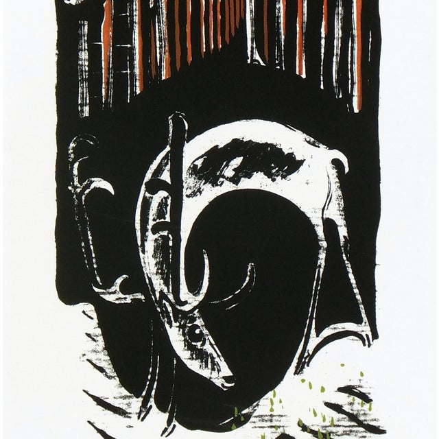 Image of Mid-Century Modern Elk Lithograph, C. 1950