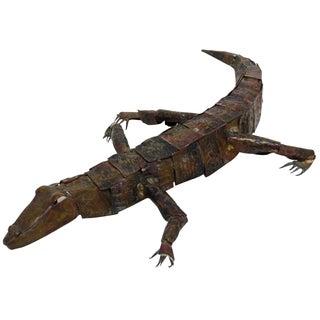 Forged Copper Alligator Sculpture