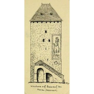 Pen & Ink Drawing Baierdorf Tower, C. 1920