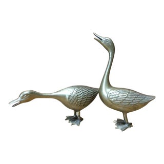 Brass Geese Figurines - a Pair