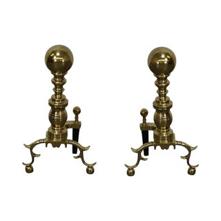 Virginia Metalcrafters Colonial Williamsburg Brass Andirons - Pair
