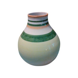 Fitz & Floyd Large Bulbous Bright Beautifully Striped Vase