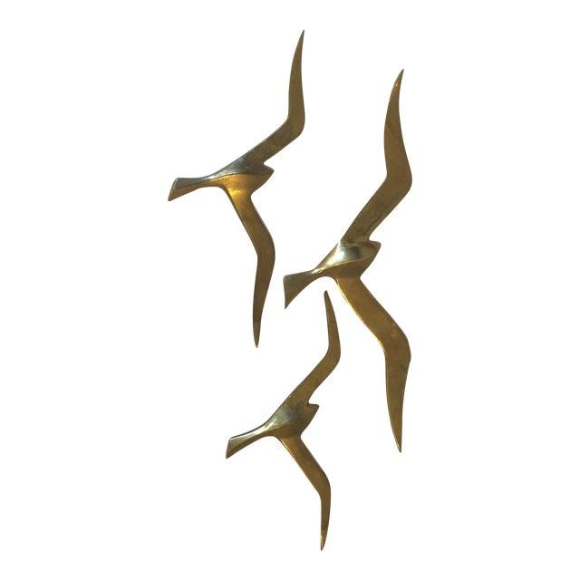 Image of Mid-Century Brass Bird Flock - Set of 3