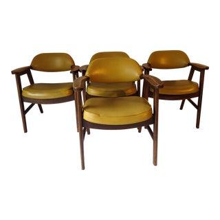 Mid-Century Mustard Vinyl Seat Chairs - Set of 4