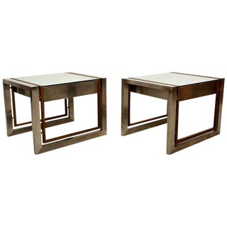 Arturo Pani Stainless Brass Side Tables - A Pair