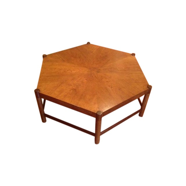 Hexagonal Oak Cocktail Coffee Table Chairish