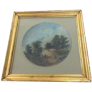 Vintage Hand-Painted Ceramic in Frame