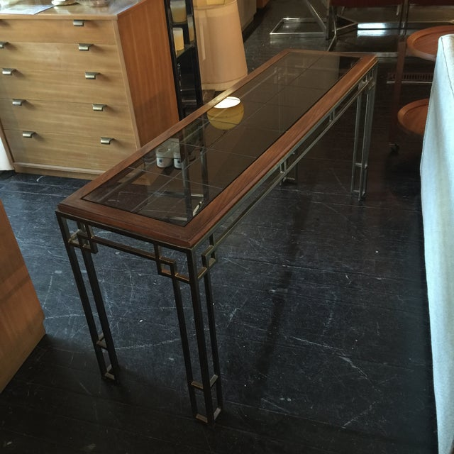 Image of Midcentury Modern Brass Base Console Table