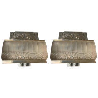 French Art Deco Sconces with Geometric Motif - A Pair