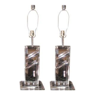 Mid-Century Modern Lucite Lamps - A Pair