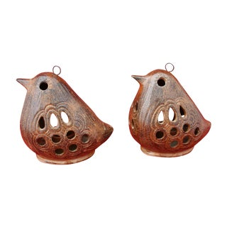 Vintage 70s Pottery Hanging Bird Lanterns - A Pair
