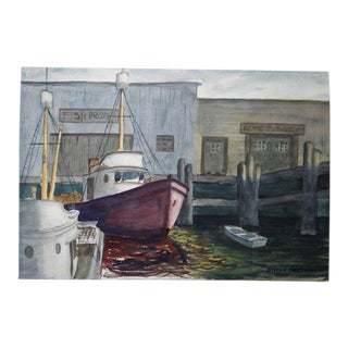Harbor Watercolor Painting by Alfred C. Ybarra