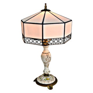 Petite Porcelain Table Lamp With Glass Shade