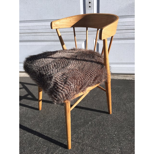 Mid Century Modern Quail Fur Spindle Chair - Image 3 of 5