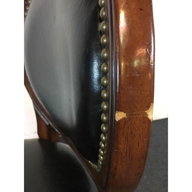 Image of Mahogany & Black Leather Swivel Bar Stools - A Pair