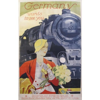 "1927 Art Deco Railroads Travel Poster ""Germany Wants You"" - 25.25"" x 39.5"""