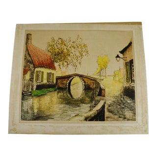 """Vintage 1933 Sidney Lucas European Village Scene Aquatint Etching Signed De Beauvais 25"""" x 21"""""""
