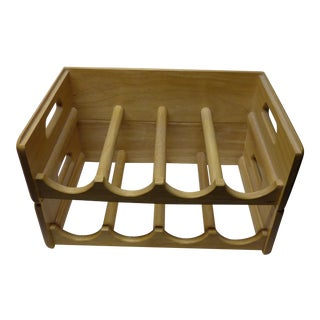 Solid Blonde Wood Stackable 8 Bottle Wine Rack - a Pair