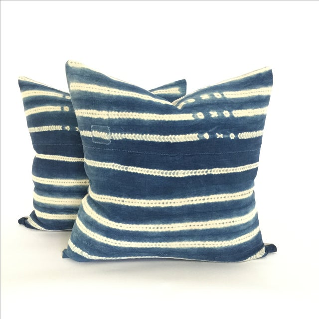 Vintage African Indigo Pillows - A Pair - Image 2 of 4