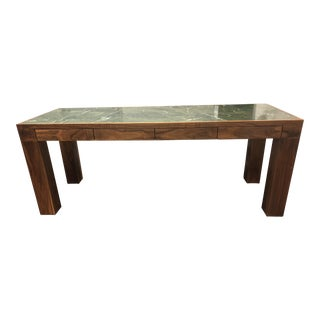 Custom Walnut & Green Stone Top Writing Desk