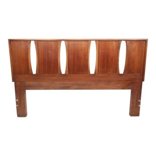 Unique Mid-Century Modern Walnut Queen Headboard by American of Martinsville