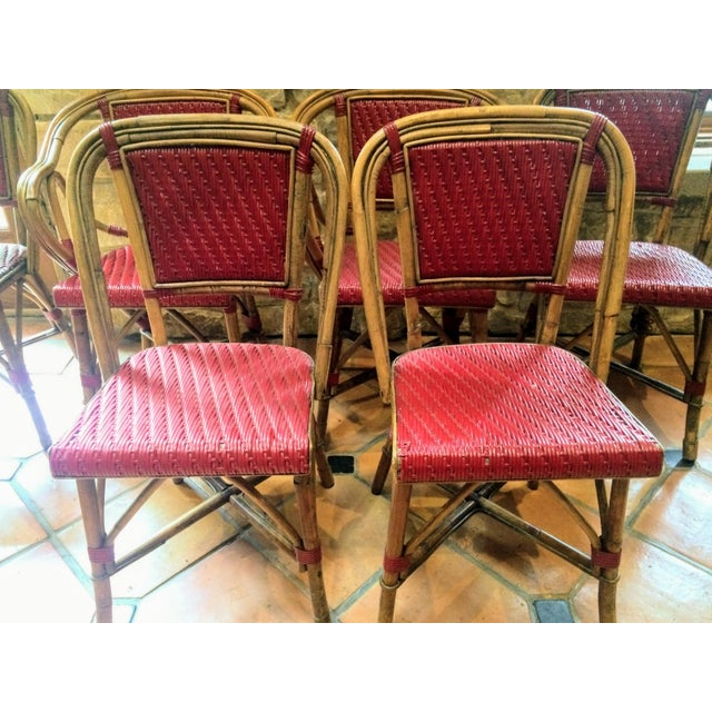 Vintage Woven French Bistro Chairs - Set of 6 - Image 9 of 11