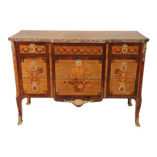 Transitional Louis XV /Louis XVI Three Drawer Marble Top Commode