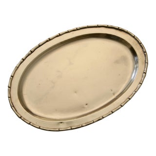 Faux Bamboo Edge Brass Oval Tray