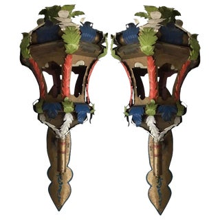 Tony Duquette Style Painted Wall Sconce Lanterns - A Pair