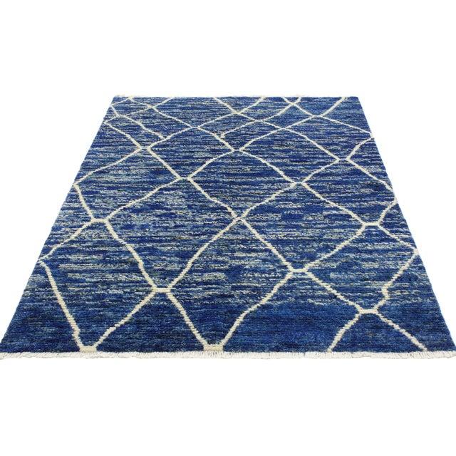 Contemporary Blue Moroccan Style Area Rug