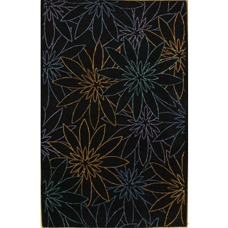 Black Hand-Tufted Modern Rug - 5' X 8'