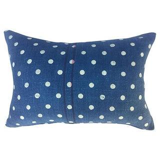 French Indigo Dot Grain Sack Pillow
