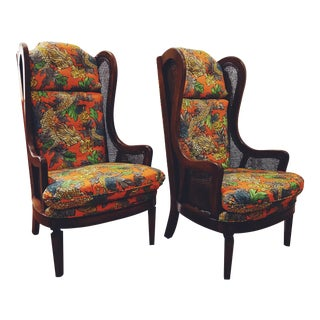Dragon Upholstered Cane Wingback Chairs