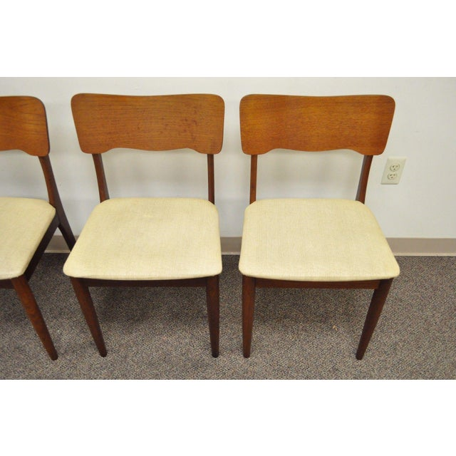 Gustav Bahus Norway Mid Century Danish Modern Teak Ribbon Dining Chairs - Set of 4 - Image 8 of 11