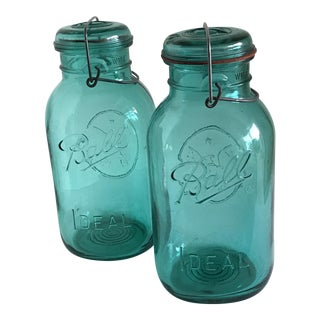 Vintage Large Blue Ball Mason Jars - A Pair