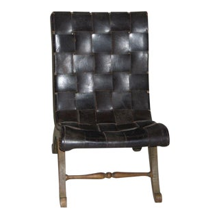 Modern Neoclassical Leather Strap Chair