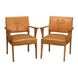 "Magnificent Pair of Original ""Ranch Oak"" Cowboy Arm Chairs w/Saddle Decoration"