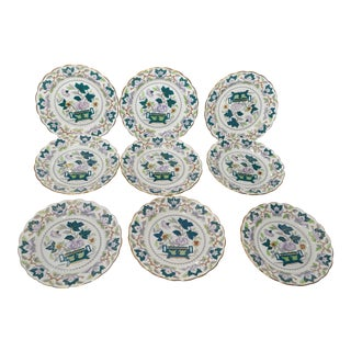 Booths Green Lotus Salad Plates - Set of 9
