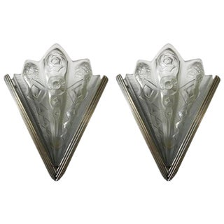 Pair of French Art Deco Geometric Sconces Signed by Noverdy