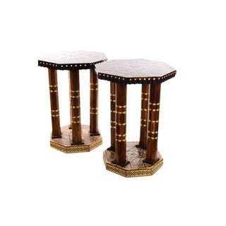 Moroccan Syrian -Beautiful Mother of Pearl inlaid Round Side tables-a Pair