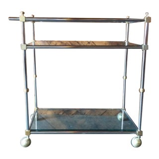 1970's Brass & Chrome Rolling Bar Cart