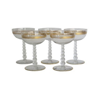 Gilded Champagne Coupes - Set of 5