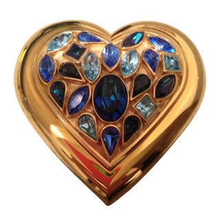 Yves Saint Laurent 1980s Rhinestone Heart Compact